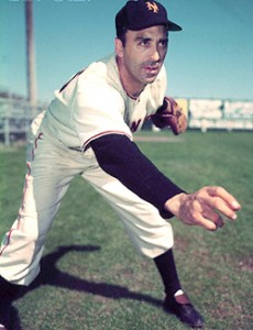 Baseball Player Sal Maglie Pitching